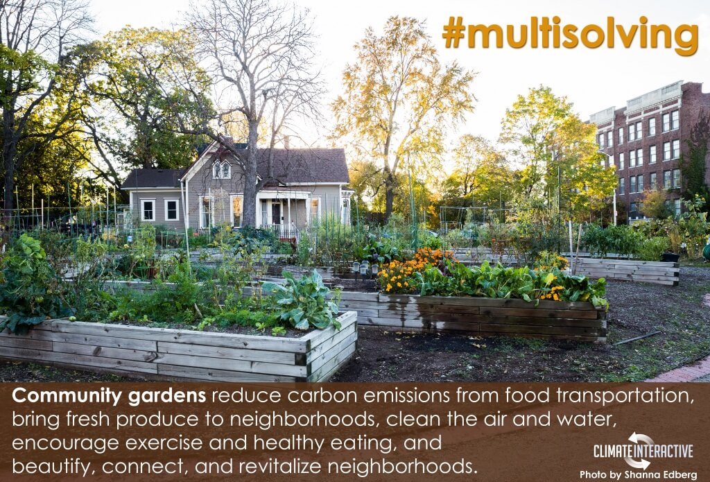 Community gardens reduce carbon emissions from food transportation, bring fresh produce to neighborhoods, clean the air and water, encourage exercise and healthy eating, and beautify, connect, and revitalize neighborhoods.