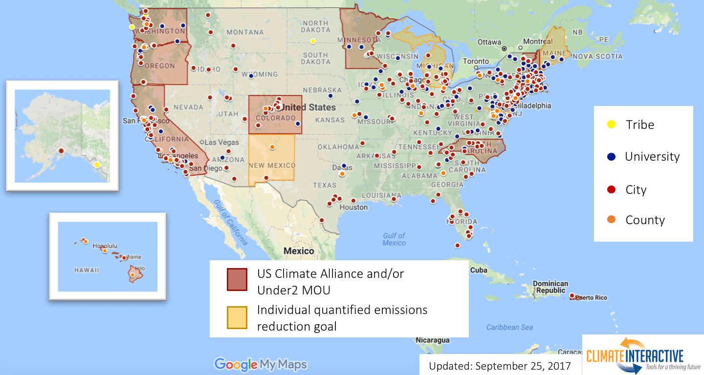 Map of US Climate Action Climate Interactive