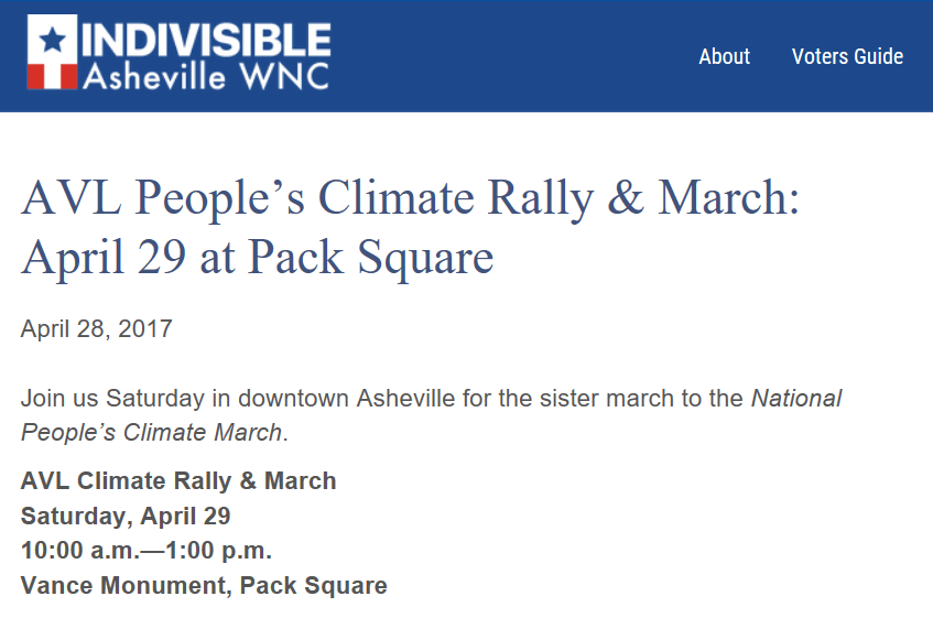 Asheville Indivisible Climate Rally